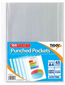 A4 Punched Pocket Strong Transparent Poly Sleeve Wallet School Office Document