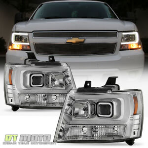 2007 2014 Chevy Suburban Tahoe Avalanche Led Tube Drl Projector Headlights Set