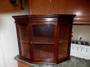 Antique Glass Display Cabinet Corner Wall Hanging Mounted 1800 S Beautiful Inlay