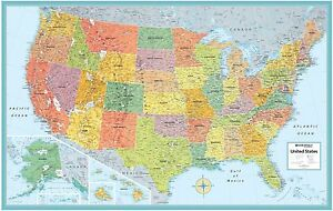 New Rand Mcnally Us States Wall Map Kids Illustrated Usa 50x32 Rolled Poster