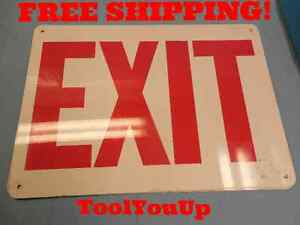 4 Pcs 14 X 10 Exit Sign Painted Aluminum Machine Shop Signs Tooling Signs
