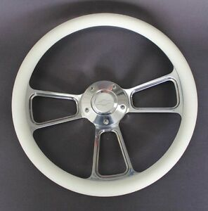 55 56 Chevy Bel Air White And Billet Steering Wheel 14 Chevy Bowtie Center Cap