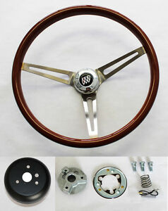 1964 1966 Buick Skylark Gs Wood Steering Wheel High Gloss Grip 15
