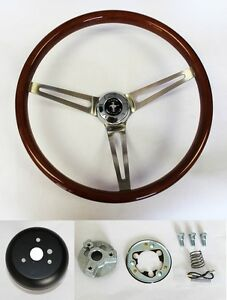 1970 1977 Mustang 15 Wood Steering Wheel High Gloss Grip Mustang Cap