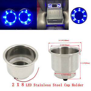 2pcs 8led Blue Stainless Steel Cup Drink Holder 12v Marine Boat Car Truck Rv