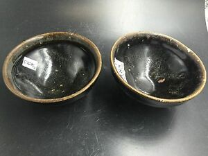A Pair Of Chinese Northern Song Dynasty Black Pottery Bowls Tea Cups