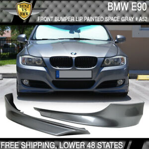 Fit 09 12 Bmw E90 3 series Front Bumper Lip Splitter 2pc Painted Space Gray Pp