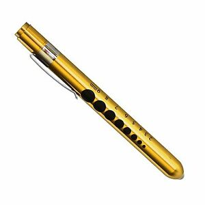 Professional Medical Pen Light W Pupil Gauge Pocket Torch With Scale gold