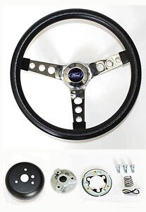1970 1979 Ranchero Pinto Grant Black Chrome Steering Wheel 13 1 2 Horn Kit