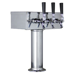 Kegco Ttow 3f ss Polished Stainless Steel Triple Tap Tstyle 3 Faucet Draft Tower