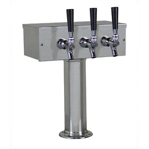 Kegco Ttow 3f brush Brushed Stainless Steel T style 3 Faucet Tower