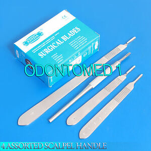 4 Assorted Scalpel Knife Handle 3 100 Surgical Sterile Dissecting Blades 11