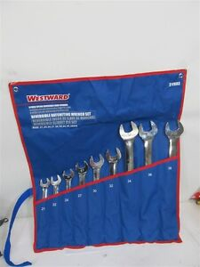 Westward 21yx93 9 Pc Spline Non slip Reversible Ratcheting Wrench Set