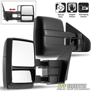 Left right 2004 2014 Ford F150 Truck Towing Manual Telescoping Tow Side Mirrors