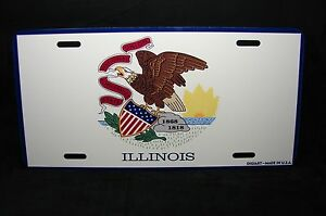 Illinois State Flag Metal Novelty License Plate Tag For Cars