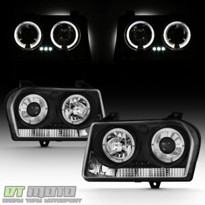 Black 2005 2007 Chrysler 300 Halo Projector Led Headlights Headlamps Left Right