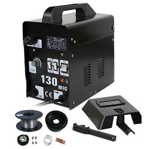 Mig 130 Welder Flux Core Wire Automatic Feed Welding Machine W Cooling Free Mask