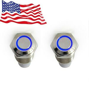 2x 16mm 12v Car Blue Latching Led Angel Light On Off Push Metal Button Switch Us