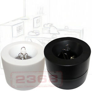 White Black 2 Pc Magnetic Paper Clips Holder 50 Pc Silver Paper Clips Include