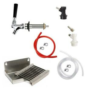 1 Faucet Homebrew Draft Beer Kegerator Kit W Drip Tray Ball Lock Fittings