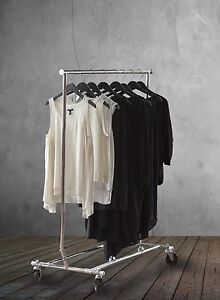 Collapsible Rolling Garment Rack In Chrome