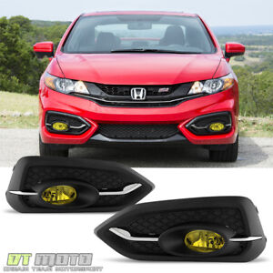 For 2014 2015 Honda Civic 2dr Coupe Yellow Fog Lights Bumper Lamps W switch bulb