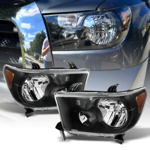 For 2007 2013 Toyota Tundra 2008 2017 Sequoia Black Headlights Lamps Left Right