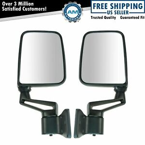Black Manual Side View Door Mirrors Left right Pair Set For 87 02 Jeep Wrangler