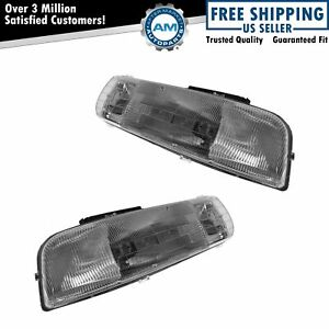 Headlights Headlamps Lh Rh Pair Set For Chevy Tahoe Suburban Silverado Truck