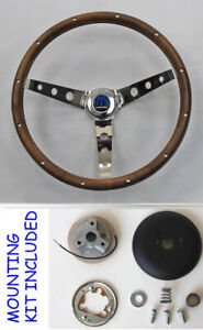 New 1970 s Dodge Dart Charger Demon Wood Steering Wheel Walnut 13 1 2 Mopar Cap