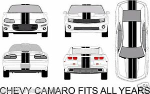 Chevy Camaro Dual Rally Racing Stripes Vinyl Double Stripe Decals Fits All Yrs