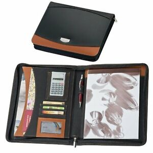 A4 Zipped Bonded Leather Black Brown Writing Case Conference Folder Executive