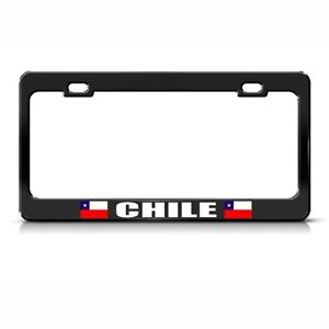 Chile Chilean Flag Black Country Metal License Plate Frame Tag Holder