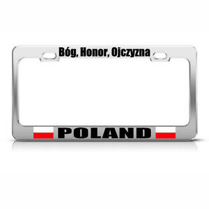 Poland God Honor Fatherland Country Metal License Plate Frame Tag Holder