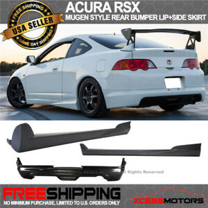 Fit 02 06 Acura Rsx Mugen Style Rear Bumper Lip Spoiler Pair Side Skirt Pu