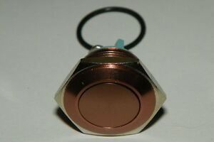 3 Amp Flat top Copper Brown Coffee Momentary Switch 16mm