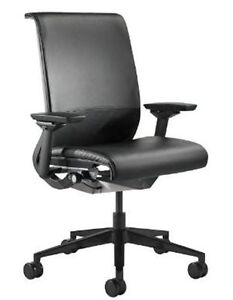 Steelcase Think Black Leather Office Chair Item Model 46541100st 6205 l107