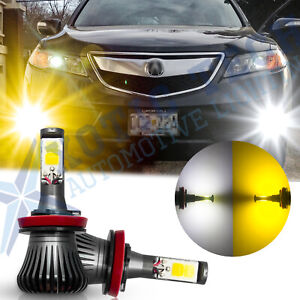 2x Led H8 H9 H11 White Amber Dual Color Cob Bulbs Car Fog Light Kit 12v