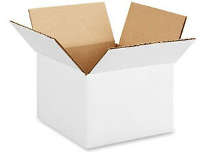 5 X 5 X 5 White Corrugated Boxes Lot Of 2500 Boxes Free Shipping