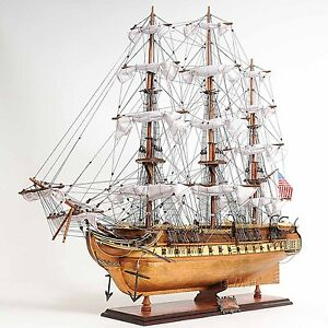 Uss Constitution Copper Bottom Tall Ship 38 Wooden Model Sailboat Assembled