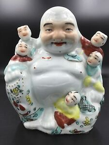 Chinese Famille Rose Porcelain Sitting Laughing Buddha With Boys Ding Yisheng