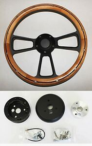 1964 65 66 Buick Skylark Gran Sport Alder Wood And Black Steering Wheel 14