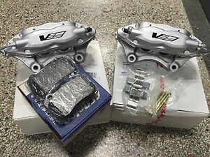 Cadillac Cts V Brembo Silver 4 Piston Rear Calipers Pair W Gm Brake Pads Pins
