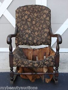 Vintage Antique Solid Wood Rocking Chair Wooden Rocker Must See Look