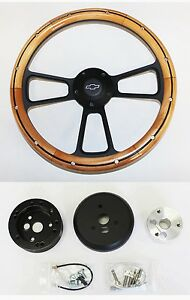 1968 Chevrolet Camaro Alder Wood On Black Steering Wheel 14 Bowtie Center Cap