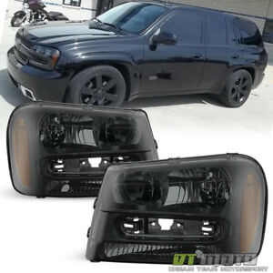 Exclusive Dark Smoke 2002 2009 Chevy Trailblazer Headlights Headlamps 02 09