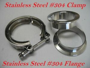 3 Inch Stainless Steel 304 V Band Vban Clamp W 2 Flange Turbo Exhaust Down Pip
