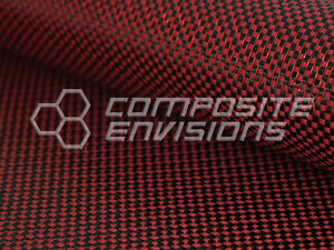 Red Reflections Carbon Fiber Made With Kevlar Fabric Plain Weave 3k 5 7oz