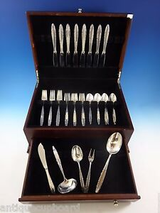 Lace Point By Lunt Sterling Silver Flatware Set For 8 Service 37 Pieces