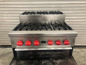 24 Step Up 6 Gas Burner Hot Plate Stove Cook Top Jade Range 9334 Commercial Nsf